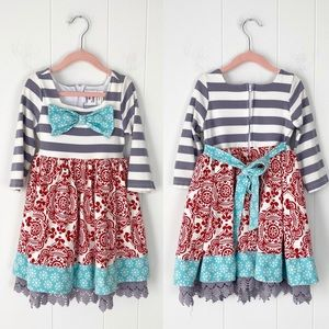 Counting Daisies Striped Snowflake Dress sz. 5